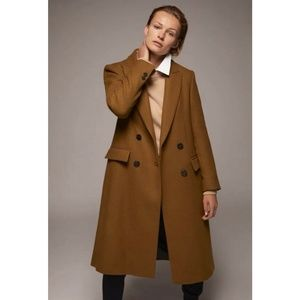 Zara Toffee Long Wool Coat Double Breasted XXL